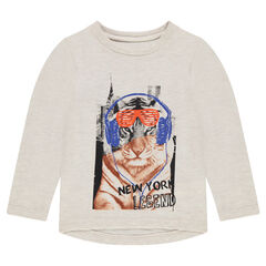 Tee-shirt manches longues avec tigre printé