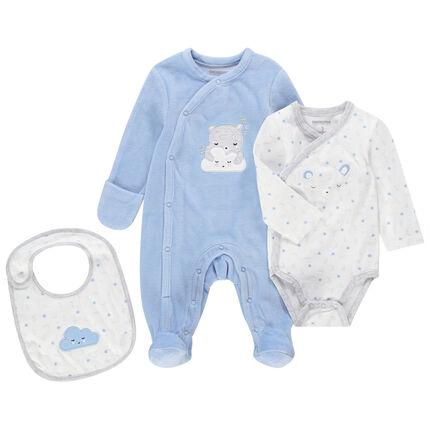 Set de naissance bleu et blanc avec dors-bien velours, body manches longues et bavoir