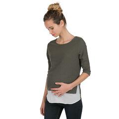 Pull de grossesse en tricot fantaisie effet 2 en 1