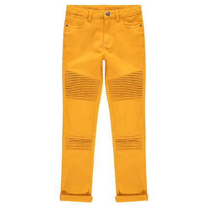 Junior - Pantalon en twill surteint avec jeux de plis et de surpiqûres