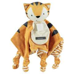 Doudou en velours forme tigre avec noeuds