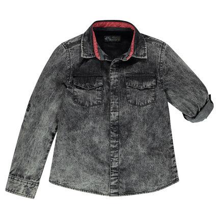 Junior - Chemise manches longues en jeans effet cold dye