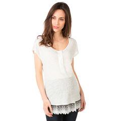 Tee-shirt de grossesse manches courtes avec volant en tulle