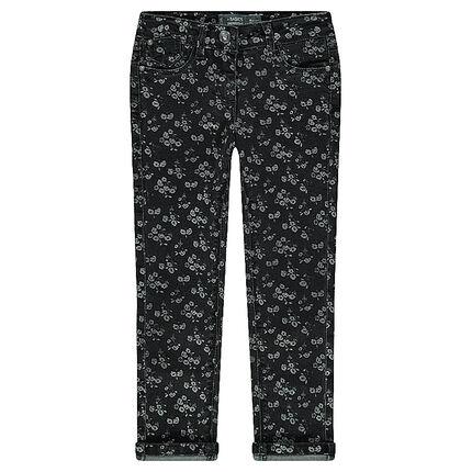 Jeans slim imprimé fantaisie
