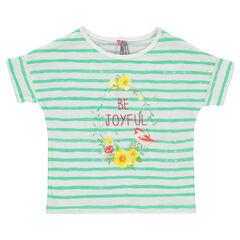 Tee-shirt manches courtes rayé avec print fantaisie