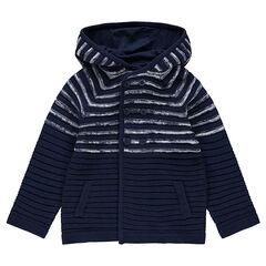 Gilet à capuche en tricot avec rayures placées en jacquard