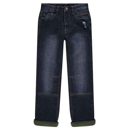 Junior - Jeans coupe droite effet used et crinkle