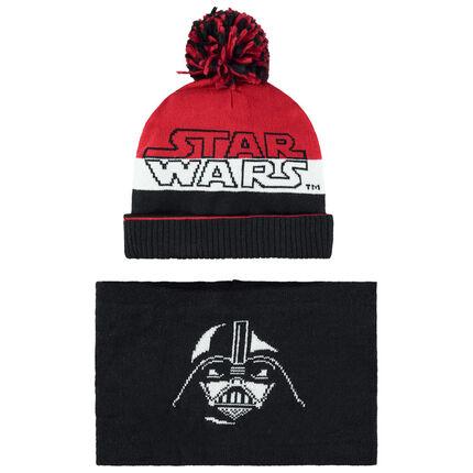 Ensemble bonnet et snood en tricot doublés sherpa motif Star Wars
