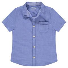 Chemise manches courtes bleue avec poche plaquée