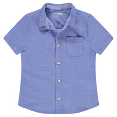 Junior - Chemise manches courtes bleue avec poche plaquée