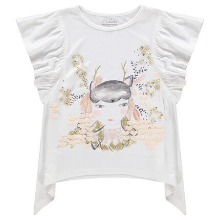Tee-shirt manches courtes volantées avec personnage printé