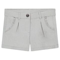 Short en twill avec volants sur les poches