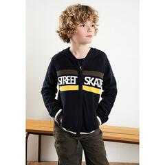 Junior - Gilet à capuche en tricot avec bandes et inscriptions en jacquard