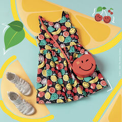 Robe sans manches print Smiley all-over
