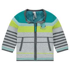 Gilet zippé en tricot doublé sherpa avec ourson brodé