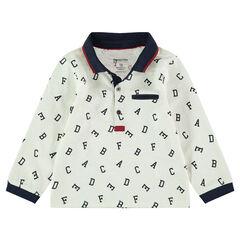Polo manches longues en jersey avec lettre printées all-over
