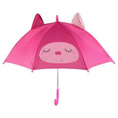 Parapluie à pois avec print et oreilles fantaisie
