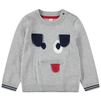Pull en tricot avec détails en jacquard et empiècements mobiles