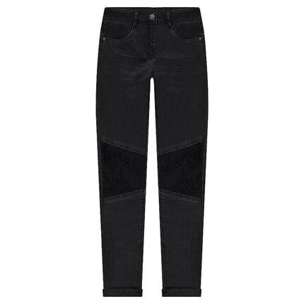 Pantalon slim effet crinkle avec sequins noirs