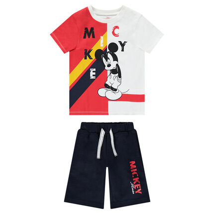 Ensemble Tee-shirt print Mickey Disney bicolore et bermuda uni
