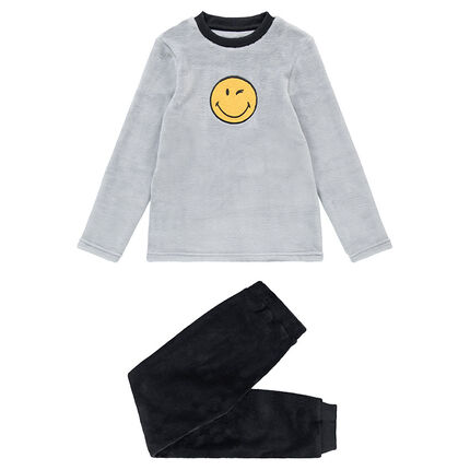 Pyjama en polaire bicolore avec Smiley patché