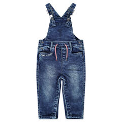 Salopette en jeans effet used avec broderie et cordons de serrage