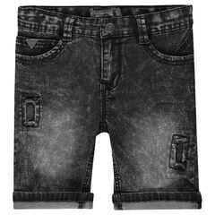 Bermuda en jeans effet used avec usures fantaisie