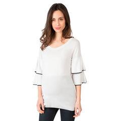 Pull de grossesse en tricot fin avec manches 3/4 volantées