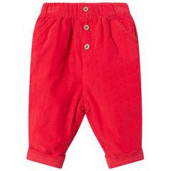 Pantalon en velours doublé jersey à boutons