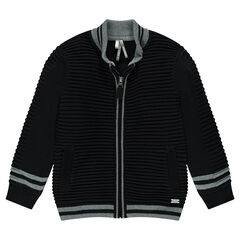 Junior - Gilet en tricot ottoman avec rayures jacquard