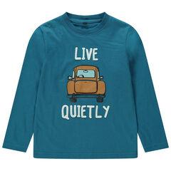 Tee-shirt manches longues en jersey avec voiture printée coffre fantaisie