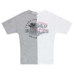 Junior - Tee-shirt manches courtes bicolore en jersey avec motif printé