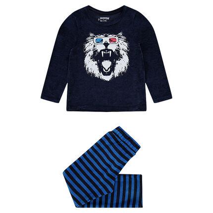 Pyjama en velours avec lion printé