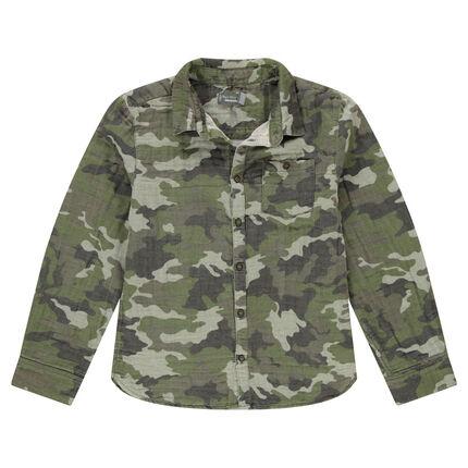 Junior - Chemise motif army all-over en coton double face