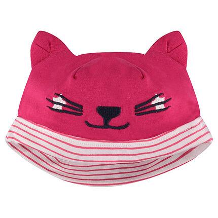 Bonnet en jersey avec oreilles de chat en relief et détails brodés