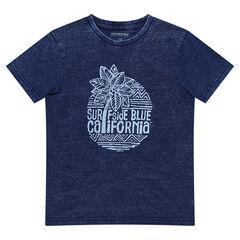 Junior - Tee-shirt manches courtes bleu jeans avec print esprit surf
