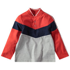 Polo manches longues tricolore à col teddy et bandes contrastées