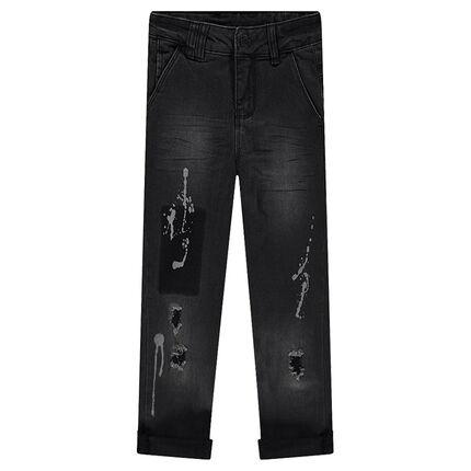 Junior - Jeans effet used et crinkle avec usures et taches de peinture