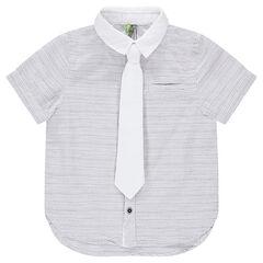 Chemise manches courtes rayée avec cravate unie amovible