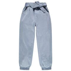 Pantalon fluide en Tencel surteint avec ceinture à nouer