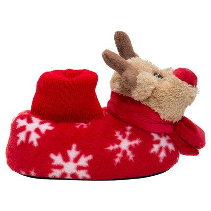 Chaussons peluche cerf de Noël motif flocons de neige du 24 au 27