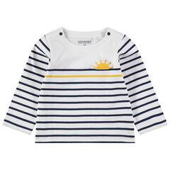 Marinière en jersey à rayures et soleil printé