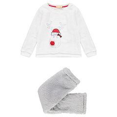 Pyjama de Noël en sherpa avec cerf brodé et pompons