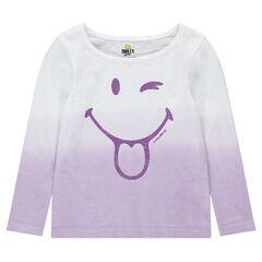 Tee-shirt manches longues effet tie and dye avec ©Smiley pailleté
