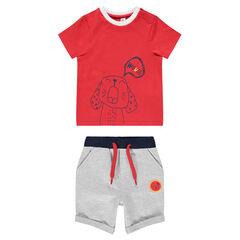 Ensemble avec tee-shirt manches courtes print chien et bermuda chiné