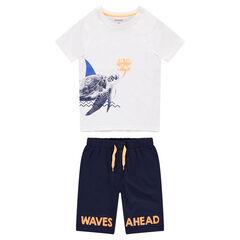 Junior - Pyjama en jersey avec tortue printée et bermuda