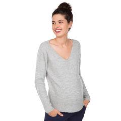 Pull de grossesse en tricot côtelé