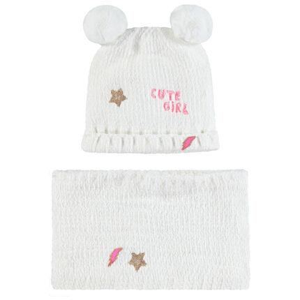 Ensemble bonnet et écharpe en maille chenille avec oreilles en relief