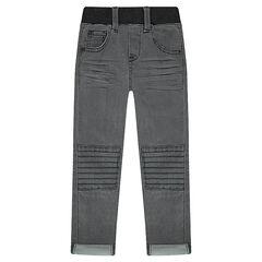 Jeans effet used et crinkle à jeux de surpiqûres