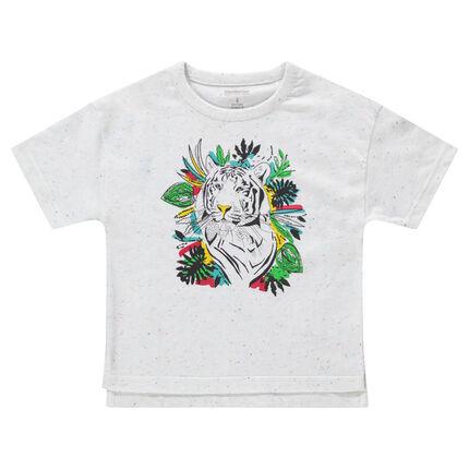Tee-shirt manches courtes en maille neps avec tigre printé